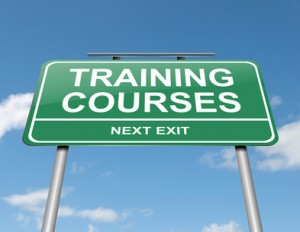 Sign announcing education training courses